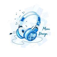 Stijlvolle stereohoofdtelefoon met een trendy geometrisch patroon. Muzikale accessoires voor sport. Vector cartoon illustratie.