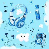 Set muzikale accessoires met een blauw geometrisch patroon. MP3-speler, koptelefoon, vacuüm koptelefoon, USB-stick voor muziek, grappige wolken, bladmuziek.