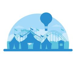 Circus festival eerlijke silhouet landschap vector