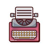 retro typemachine apparatuur met bedrijfsdocument vector