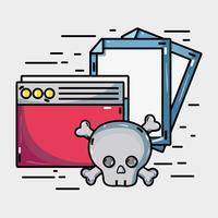 documenteert informatie met gevaarlijk cybervirus vector