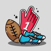 Amerikaanse voetbalhandschoen met klampen en bal vector
