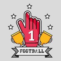 Amerikaanse footbal handschoen met nummer één bericht vector