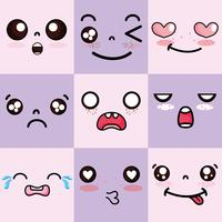 kawaii schattige gezichten expressie instellen vector