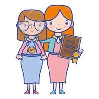 leraar met leerling tot klas les