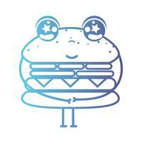 lijn kawaii schattig gelukkig hamburger fastfood vector
