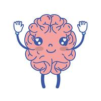 kawaii schattig gelukkig brein met armen en benen vector