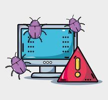 computer met virus in de systeeminformatie vector