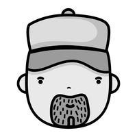 grijswaarden man hoofd loodgieter baan voor service reparatie