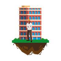 afro mannelijke bouwer aannemer werknemer met gebouw