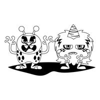 grappige monsters paar stripfiguren monochroom