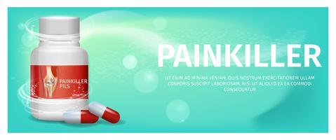 Banner Advertentie Verpakking Pijnstiller Pils vector