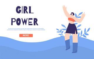 Girl Power Design Landingspagina Floral vlakke stijl