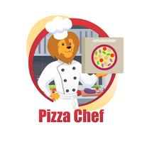Cartoon Pizza Chef Lion King Hold Pizza Box in Poot vector