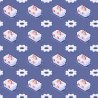 Naadloos patroon met tandwielen en gereedschapskist vector