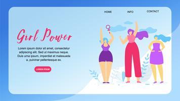 Girl Power horizontale banner met kopie ruimte.