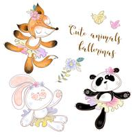 Panda, Bunny en Fox in ballet tutu's vector