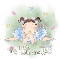 Een kleine ballerina met vogels. vector