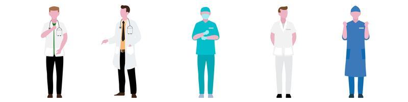 Platte tekenset van ziekenhuispersoneel