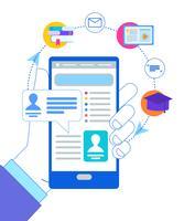 Man Hand houden Smartphone met geopende account