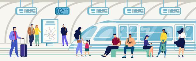 Passagiers op metrostation Flat vector