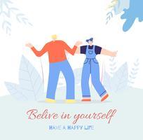 Geloof jezelf gelukkig leven mensen motiverende kaart vector