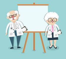 Oude dokter op presentatie vector