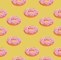donut met roze glazuurpatroon vector