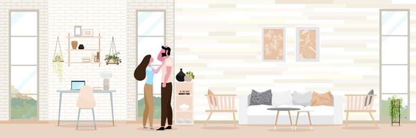 Paar romantiek Modern interieur van de woonkamer. vector