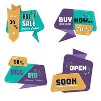Moderne origami verkoop label en tags collectie