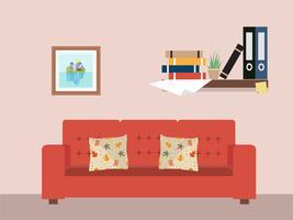 Woonkamer met meubels werkruimte