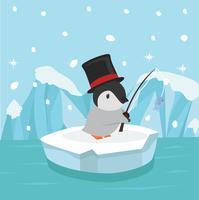 Leuke pinguïn die op ijsijsschol vissen vector