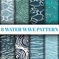 8 Water Wave patroon achtergrond instellen collectie vector