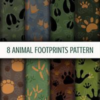 8 dier voetafdrukken patroon achtergrond set collectie vector