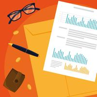 Air View-documenten en kantoorsetitems vector