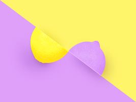 Twee helften citroen Pop kleur achtergrond