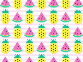 Kleurrijke Watermeloenen En Ananasachtergrond vector