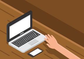 Laptop op houten bureau Technologie vector