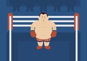 Zwaargewicht bokser in de ring vector