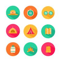 Avontuur picknick en kampeervakantie Icon-Set vector