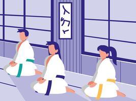 mensen in vechtsporten dojo scene vector
