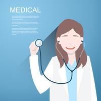 Artsenvrouwen met een stethoscoop in de handen op achtergrond.