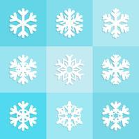 Sneeuwvlokken pictogrammen decorontwerp, Kerst wintercollectie