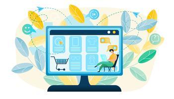 Vector illustratie Man produceert online winkelen