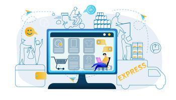 Man produceert online winkelen vector
