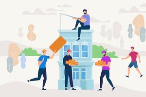Mensen die samenwerken om een nieuw huis te bouwen vector
