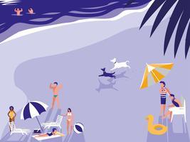mensen in tropisch strand zeegezicht vector