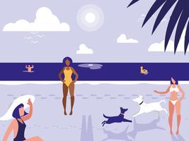mensen in tropisch strand zeegezicht