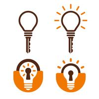 Sleutel en slotvormige lamp pictogrammen vector