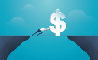 zakenman duwen dollarteken steek de berg over. vector